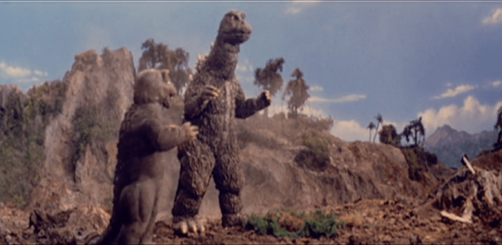 A scene from 'The Son of Godzilla'
