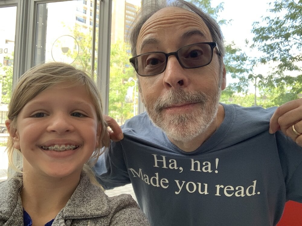 Dan Gutman and 11-year-old Hannah on a podcast episode of Story Seeds.